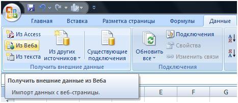 Импорт котировок из интернета