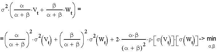 оптимизационная задача минимизации дисперсии нахождение альфа и бета