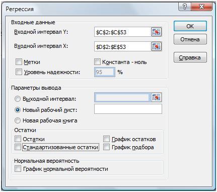 Регрессия Excel